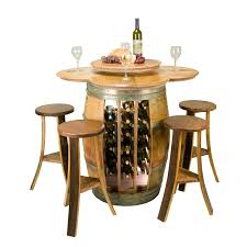 Wine Barrel Kitchen Table Reclaimed Barrel Table With 28 Bottle Rack And 4 Stave Stools