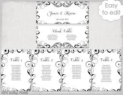 Wedding Seating Chart Template Black And White Etsy
