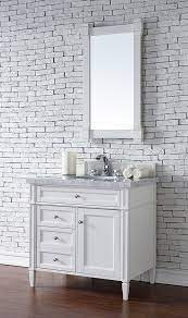 James Martin Brittany Single 36 Inch Transitional Bathroom Vanity Bright White