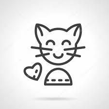 かわいい猫のシンプルなラインのベクトルのアイコン ストックベクター