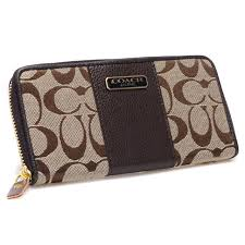 Coach Logo In Signature Large Coffee Wallets CHX