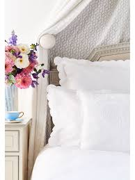 white scalloped bed linen collection
