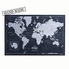 Push Pin World Map Board With Push Pins To Mark World Travel Handmade In Ohio Usa Design Modern Slate