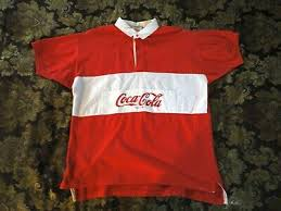 vintage coca cola rugby polo shirt red white short sleeve 1980 s size xl e