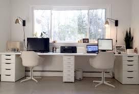 double office desk. Ikea Hacked Faux Built-ins Double Desk. Love The Sun-filled \u0026 Fresh Office Desk F