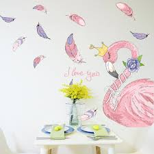 shijuehezi nice flamingo wall stickers pvc material diy birds feathers wall art for living room bedroom decoration wall stickers decoration wall stickers