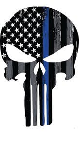 thin blue line punisher skull car decal