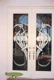 art nouveau etched design on double interior doors