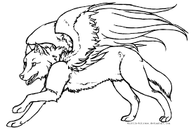 baby wolf drawing with wings. Baby Wolf With Wings Coloring Pages For Drawing
