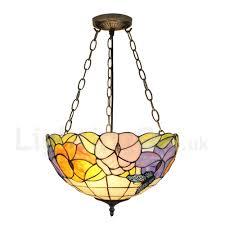 diameter 40cm 16 inch handmade rustic retro chandeliers erfly flower pattern glass shade bedroom