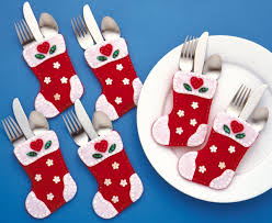 Kitchen Christmas Gift 6pcs Christmas Stocking Red Green Color Cloth Material Christmas
