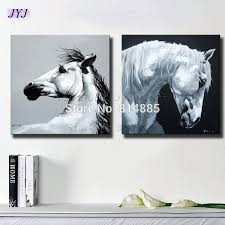 2018 black white horses canvas art wall picture for living room hand painted modern abstract oil painting on canvas wall art ct106 from bigag