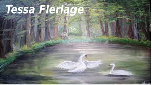 swan lake sd drawing oil painting