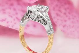 virginia beach custom ring with filigree relief engraving and oval center stone