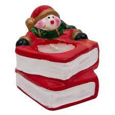 <b>Подсвечник</b> со свечой <b>Снеговик</b> с книгами, 8*7,5*6,5см (790111-2 ...