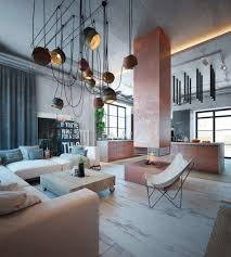 Living Room Design: Dangling Cord Lighting Central Fireplace Warm Industrial  Style Living Room Ideas -