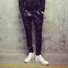 latest arrival men europe style handsome solid color leather pants pu black pye090146ba