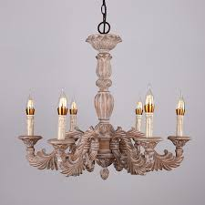 french vintage hand carved wood scrolling acanthus leaf 6 light candle style chandelier