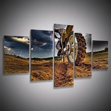 5 panels dirt bike canvas paintings home decor vintage wall art picture for living room  on dirt bike wall art with 5 panels dirt bike canvas paintings home decor vintage wall art