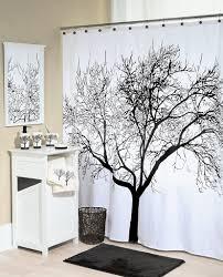 black and white tree shower curtains bathroom decor