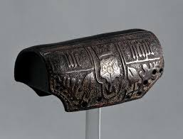 archer s bracer wrist guard cuir bouilli decorated with crowned tudor rose rivet