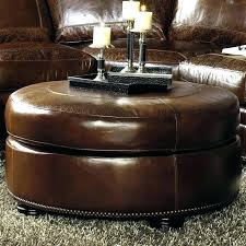 round leather cocktail ottoman living room tufted with drawers