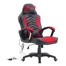 homcom modern ergonomic pu leather heated vibrating massage office chair red