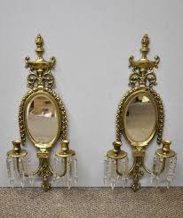 pair of brass crystal mirrored candle holder wall