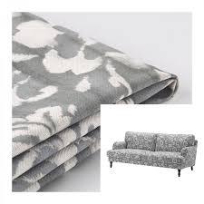 ikea stocksund 3 seat sofa slipcover cover hovsten gray white fl watercolour effect grey