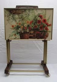 Decorative Tv Tray Tables Satanding Decorative TV Trays Set Vintage Rose Tole Toleware 95