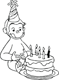 coloring pages happy birthday curious george book free printable