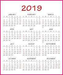2019 Calendar Pdf Template Calendar 2019 Template Free