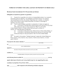 Power Of Attorney For Child Care Free Montana Minor Child Power Of Attorney Form Pdf