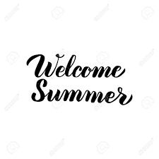ようこそ夏は手書きレタリングです白い背景に分離された書道のベクター イラストです