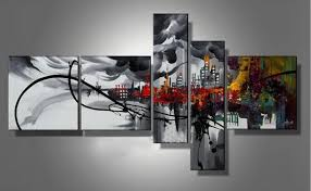 2018 5 panels handpainted abstract cityscape building oil canvas painting mural art drawing for home living hotel office wall decor from asenart  on modern abstract huge wall art oil painting on canvas with 2018 5 panels handpainted abstract cityscape building oil canvas