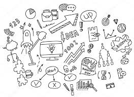 Hand Draw Doodle Elements Money And Coin Icon Chart Graph