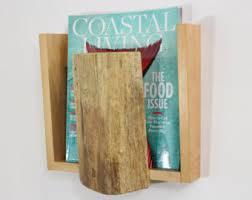 Handmade Magazine Holder Wood Magazine Rack Wall Hanging Magazine Rack Rustic Modern 70