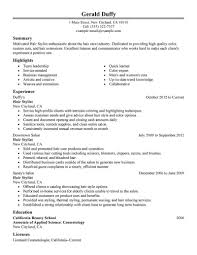 Cosmetologist Job Description Resume Hair Stylist Samples Examples