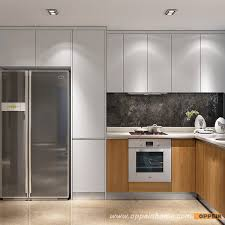 Customized Kitchen Cabinets Cool Guangzhou Modern White Matte Lacquer And Wood Grain Melamine Kitchen
