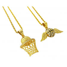 18k gold plated two piece necklace set with basketball with wings basketball hoop pendants
