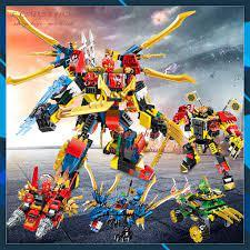 Đồ chơi lắp ráp Ninja Non Lego Ninjago PRCK 61035 Xe Mech Robot Rồng Xanh  Minifigures Season phần 11