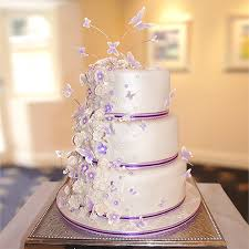 Cadbury Purple Butterfly And Flower Wedding Cake