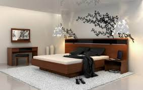 Modern Bedroom Rugs Modern Bedroom In Japanese Inspiration With Great Wallpaper And