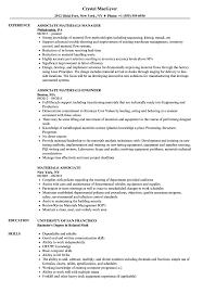 Materials Associate Resume Samples Velvet Jobs
