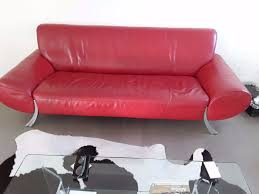 rolf benz red leather sofa model 545