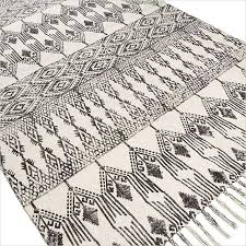 black and white flat weave rug black white cotton printed area accent dhurrie rug hand woven