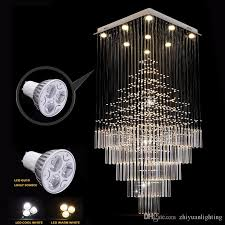 modern led rectangular crystal chandelier lamps stairs hanging pendant lamps fixtures for villa hotel mall with ac110 240v mason jar chandelier chandeliers