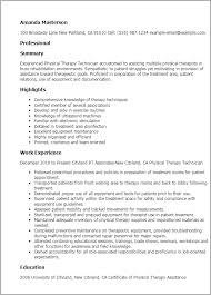 Resume For Physical Therapist Physical Therapy Technician Resume Template Best Design