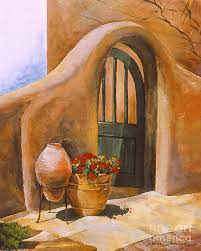 open door painting. Adobe House Painting - Open Door By Renee Womack Open Door Painting I