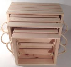 Wooden Crate With Handles Rustic Wood Retail Store Product Display Fixtures Shelving